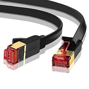 IBRA® 10M Cable de Red Gigabit Ethernet LAN Cat.7 (RJ45) CAT7 (Avanzado)   10 Gbps a 600 MHz   Cables Chapado en Oro Plug STP   Patch   Router   Módem  Negro Oblato