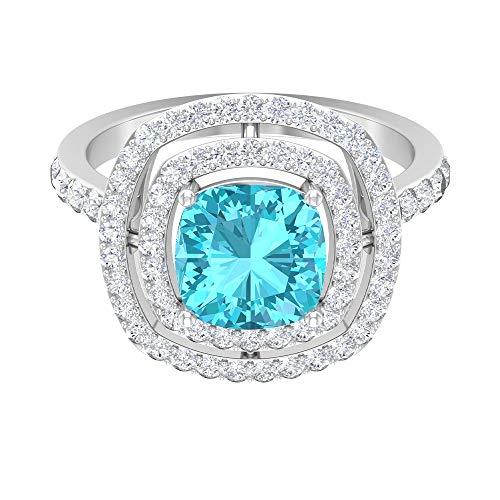 Anillo de topacio azul suizo de 1,32 quilates, anillo de compromiso con doble halo de diamante HI-SI, anillo de compromiso de 5 x 3 mm de corte cojín, 14K Oro blanco, Size:EU 62