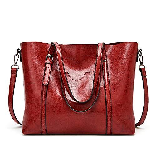 MINGZE Bolsos Mujer Tote, De Hombro Bolso Piel Bandolera Cuero Moda Grande Capacidad Casual Suave Piel Bolsa de la Compra Mensajero (Rojo)