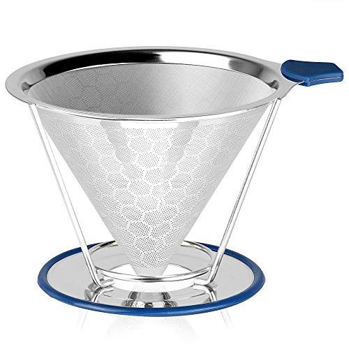 Kaffee-Abtropffilter übergießen | Wiederverwendbarer Edelstahl Honeycomb Mesh Cone Coffee Dripper | Papierlose Filterkaffeemaschine mit separatem Ständer | M&W