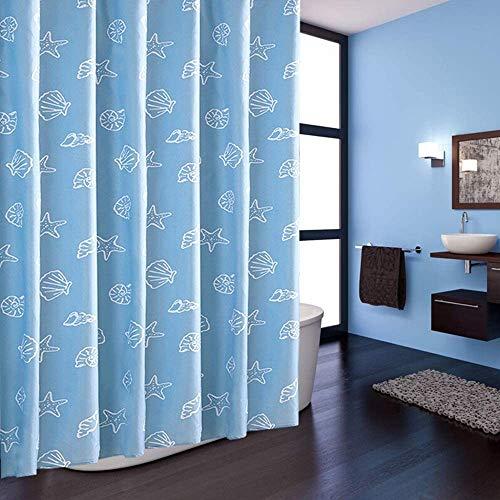 Gordijn Douchegordijn Creative Shell Ontworpen Schimmelbestendig waterdicht Shower Curtain blauwe badkamer gordijn for badkamer decoratie douche Liner for Badkamer (Kleur: Blauw, Maat: 220x200cm)