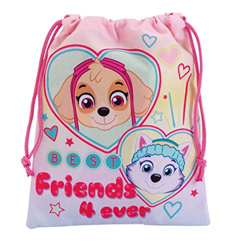 Paw Patrol Drawstring Bag for Lunch, Gym, Swimwear Featuring Skye and Everest