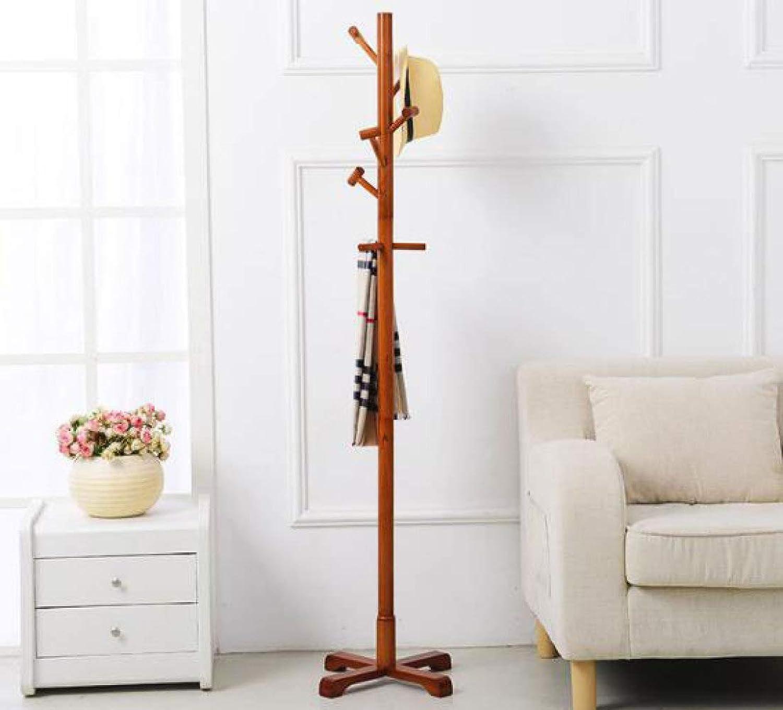 Coat Rack Simple Living Room Floor Type Solid Wood Hanger,Honeycolor-45  45  175cm