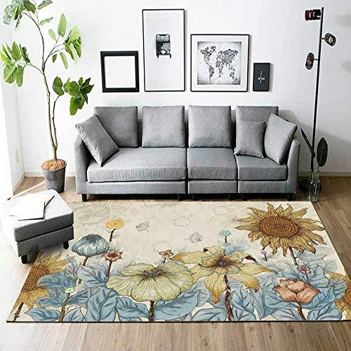 Alfombra Modern Area Alfombra Grande Flores de Girasol de jardín Americano para La Sala De Estar Dormitorio Pasillo Antideslizantes Alfombras 100x160CM (3ft28''x5ft3)