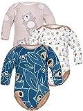 Sibinulo Jungen Mädchen Body Langarm 3er Pack Marineblau trägt auf den Blättern Beige Wiese Beige Bären 86(12-18 Monate)