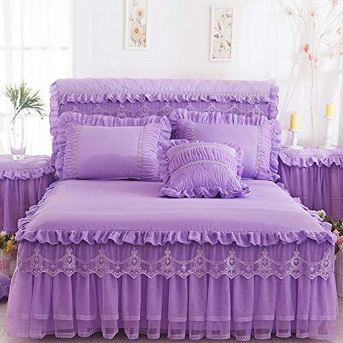 XNSY Colcha Falda de Cama de Encaje Colcha de una Pieza Funda de colchón Antideslizante de Boda-Violeta Claro_Falda de Cama de 150 cm x 200 cm + Funda de Almohada