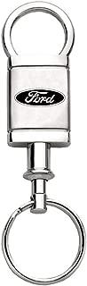 Au-Tomotive Gold, INC. Ford Logo Etch Valet Keychain Chrome Key Fob Metal Key Ring Lanyard Racing