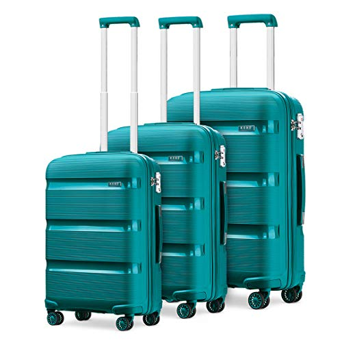 Kono Luggage Sets 3 Piece Hard Shell Travel Trolley 4 Spinner Wheels Lightweight Polypropylene Suitcase with TSA Lock (Turquoise,56cm/65cm/76cm)