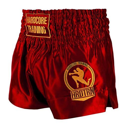 Hardcore Training Classiс Muay Thai Muay Thai Fight Shorts Mens Black White Blue Red Camo Kick Boxing MMA Combat Sport Sparring Trunks (Red, 4XL)