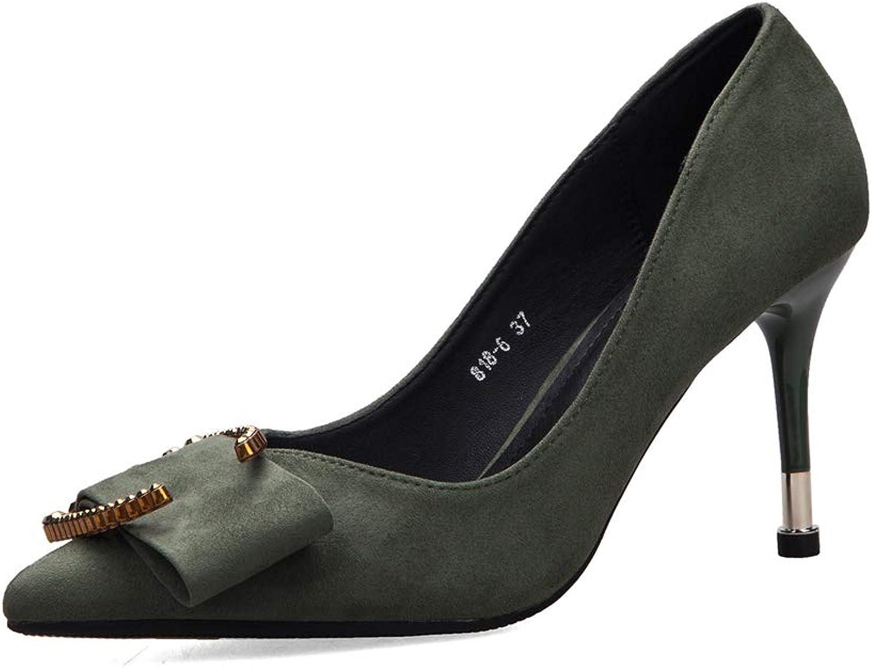Drew Toby Women Pumps Pointed Toe Suede OL Fashion Elegant High Heels