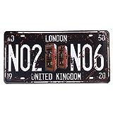 Eureya Placa de matrícula de coche Londres NO2 NO6 para casa/cafetería/bar/restaurante/exposición, decoración de pared vintage de 15 x 30 cm