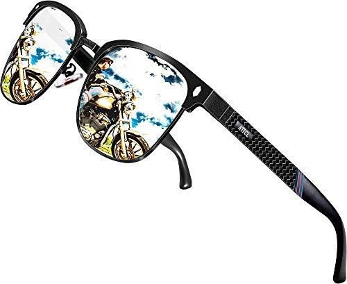 ATTCL Herren Polarisierte Sonnenbrille Al-Mg Ultra Light Metall Rahmen 8-188 Silver