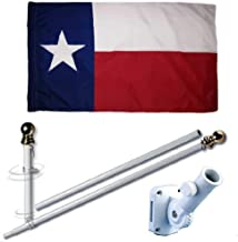MWS 3'X5' Texas State Polyester Nylon 150D 3x5 Flag Set (Super Polyester) w/Heavy Duty 6-Feet Spinning Flag Pole Bracket Residential Commercial