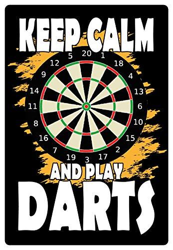 Blechschild 20x30cm gewölbt Keep Calm and Play Darts Deko Geschenk Schild