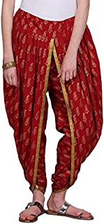 NIKA Women's Cotton Hand Block Printed Dhoti Salwar by Kaanchie Nanggia (DH1384, Red, Free Size)