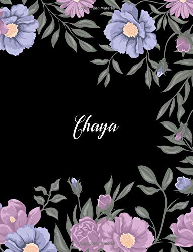 Chaya: 110 Ruled Pages 55 Sheets 8.5x11 Inches Climber Flower on Background Design for Note / Journal / Composition with Lettering Name,Chaya