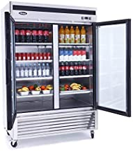 Atosa Refrigerator: 55-in Bottom Mount 2-Dr Glass Pull Doors w/4