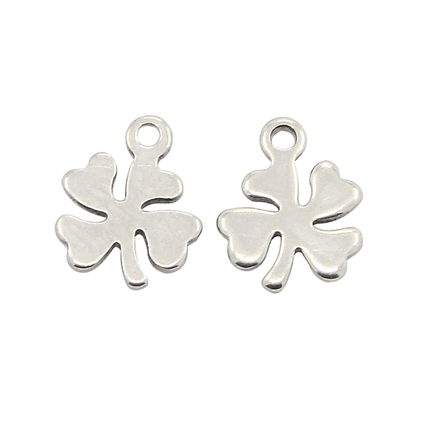 PH PandaHall 100pcs Stainless Steel Charms Four Leaves Clover Pendants for Bracelets Necklace Jewelry Making