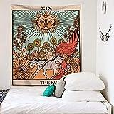 KHKJ Pintura de Tela Colgante de Tarjeta de Tarot de Color, Tapiz de decoración del hogar, Tela de Fondo de Tela de Pared de cabecera de Dormitorio A6 95x73cm