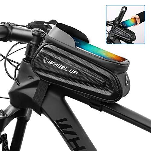 Fahrrad Rahmentasche,MTB Wasserdicht Rahmentasche Fahrrad Rahmentasche mit Sonnenblende TPU-Touchscreen,wasserdicht handyhalterung für Smartphone unter 7 Zoll und Kopfhörerloch