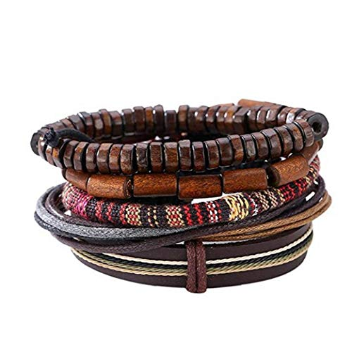 Popular Multi-Layer Leather Bracelet with Vintage Hippy Natural Wooden Beads Rope Braided Bangle Cool Leather Wristband Bracelet for Man Woman Convenient Tools