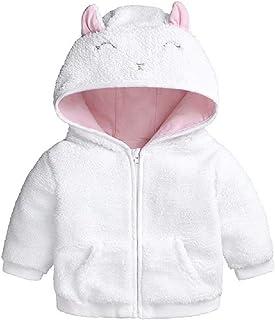 Hooyi Chaqueta de forro polar con capucha para niños y niñas, con orejas de conejo y oso para recién nacidos, para inviern...