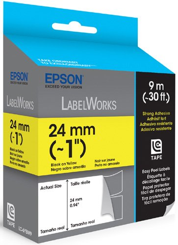 Epson LabelWorks Strong Adhesive Easy Peel Label Tape Cartridge ~ 1-Inch Black on Yellow (LC-6YBW9) Photo #2