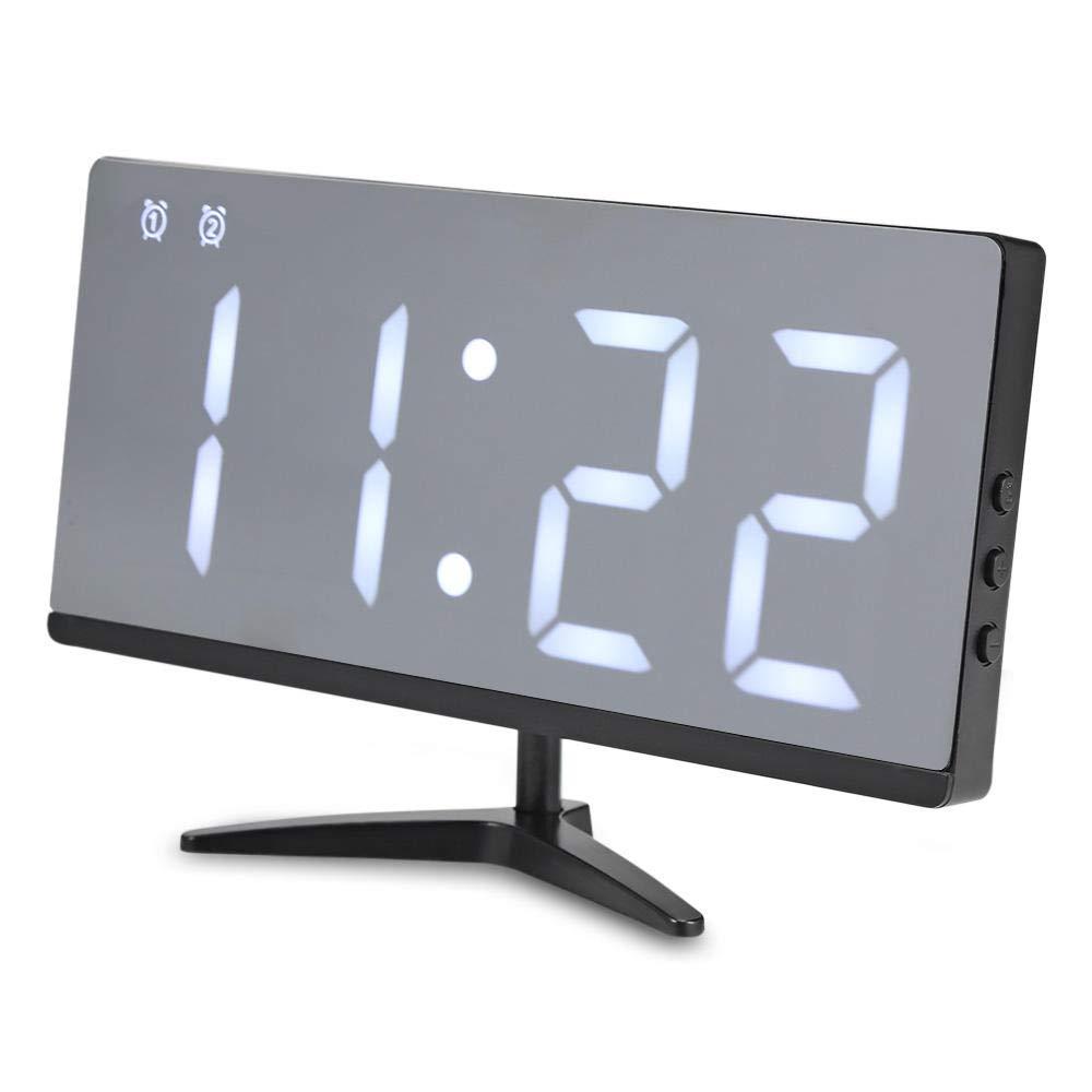 Sinzong Reloj Despertador Espejo Led Reloj Despertador Digital Hora De Reposo Fecha Temperatura Ciclo Pantalla USB Carga De La Batería Energía De La Batería Brillo Ajustable Reloj Blanco: Amazon.es: Hogar