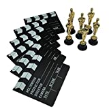 Golden Oscar Award Trophies and Movie Clapboard by Forest & Twelfth – 6 inch Replica Oscar Statues with Replica Movie Clapboard - Realistic Oscar Trophy Awards and Clapboard – 6 Award Trophies and 6 Clapboards