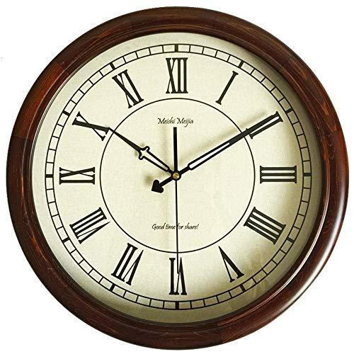 Ganeep Mute reloj de pared de madera País retro romano del reloj simple de 16 pulgadas reloj de pared de silencio, números árabes, cubierta de cristal con pilas for no jugar el rey de cuarzo de calida