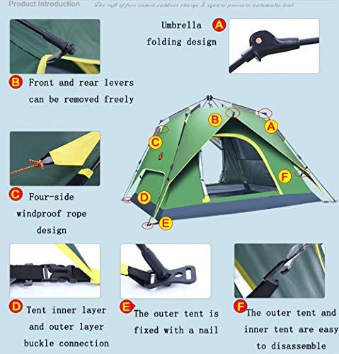 TFGY Campingzelt, Automatisches wasserdichtes Zelt, 2-Personen-Zelt, quadratische Oberseite, mehr Platz - Outdoor-Campingausrüstung,Blue