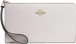 Coach Pebbled Leather Long Wallet Clutch - #F73156 - Chalk