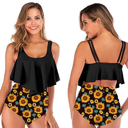 DHHY Conjuntos de Bikini de Mujer Conjuntos de Bikini de Dos Piezas Bikini con Volantes Traje de baño de Cintura Alta Estampado