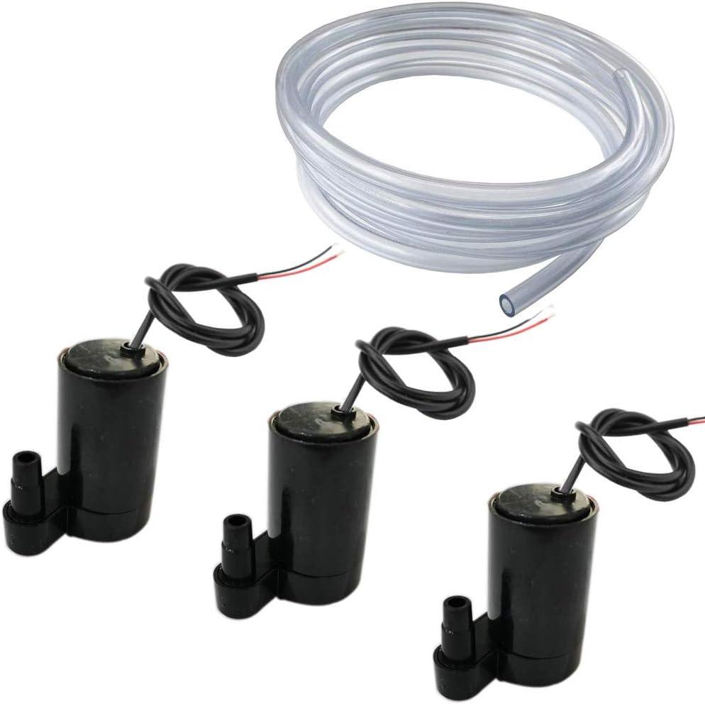RUNCCI-YUN 3pcs Micro Bomba Sumergible de Agua,Micro Sin Cepillo de la Bomba de Agua,Mini Bomba de Agua DC 3V-5V+ 3M Tubería de Agua de PVC paraTanque de Peces Fuente Acuario (Negro Vertical