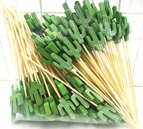 LMing Cocktail-Sticks 100 Counts Zahnstocher aus Holz Partyzubehör Rüschen Fingerfood Früchte Sandwich Knabbereien - Grüner Kaktus