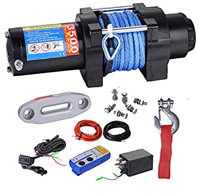 BIZ Tow Recovery Winch 3500lbs Capacity Electric Winch for ATV/UTV/Small SUV or Buggy