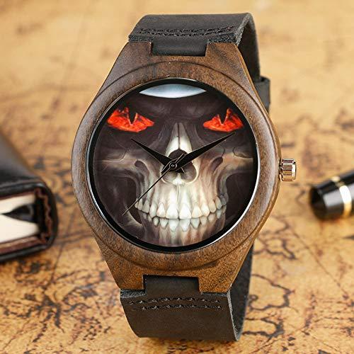 RWJFH Reloj de Madera Cool Werewolf Design Wood Watch Reloj de Pulsera marrón con Correa de Cuero Negra para Hombres Los Mejores Regalos
