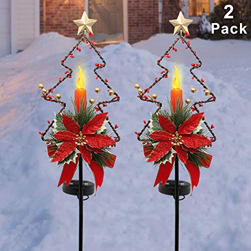 MAGGIFT 32 Inches Solar Christmas Decorations Outdoor LED Solar Powered Candle Xmas Pathway Lights, Metal Garden Stakes Lawn Yard Ornament, Set of 2