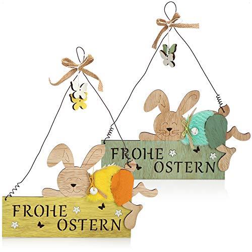 com-four® 2X Letrero Decorativo de Puerta - Decoración de Pascua de Madera - Decoración de Madera con Conejo de Pascua - Letrero para Colgar y Exhibir (2 Piezas - 30x36cm)