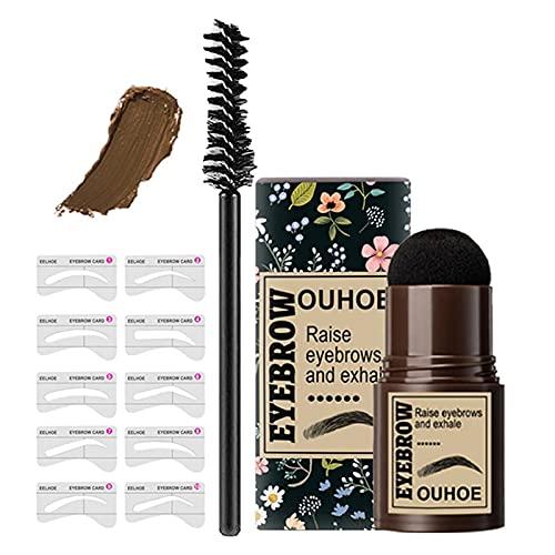 Augenbrauenstempel Shaping Kit, One Step Brow Stamp Professioneller Augenbrauen-Puder-Stempel Make-up-Haaransatz-Puder mit 10 wiederverwendbaren Augenbrauen-Schablonen (Golden)