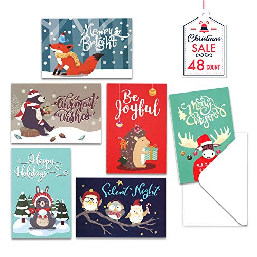 Christmas Cards with Envelopes, 48-Count Christmas Cards Boxed, 6 Woodland Animal Designs, 4 x 6 Inches, Blank Inside Christmas Cards Bulk, Holiday Xmas Greeting Cards