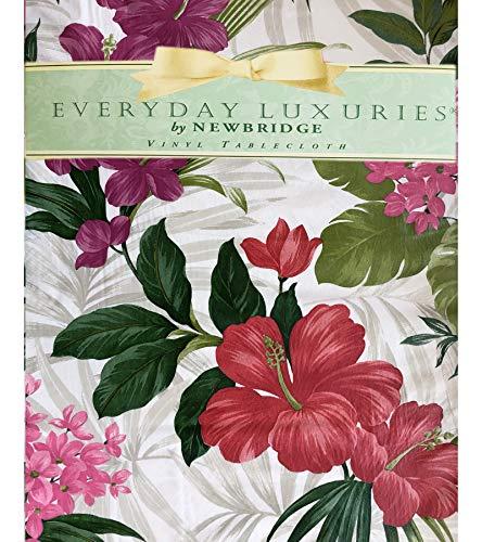 Newbridge Callisto - Mantel de franela de vinilo floral para jardín, diseño floral exótico de verano para interiores y exteriores,...