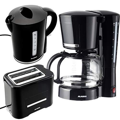 Alaska Frühstücksset 3 in 1 2209 | Wasserkocher Toaster Kaffeemaschine schwarz | 3 teilige Kombination im klassischen Vintage Stil | Filtermaschine mit Glaskanne für 12 Tassen
