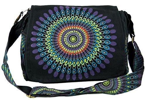 GURU SHOP Schultertasche, Hippie Tasche, Goa Tasche - Schwarz, Herren/Damen, Baumwolle, Size:One Size, 23x28x12 cm, Alternative Umhängetasche, Handtasche aus Stoff