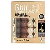 Guirlande lumineuse wifi boules coton LED USB - Commande Vocale - Maison connectée - Amazon Alexa & Google Assistant - Adaptateur secteur 2xUSB inclus - 24 boules 4m - Chocolat