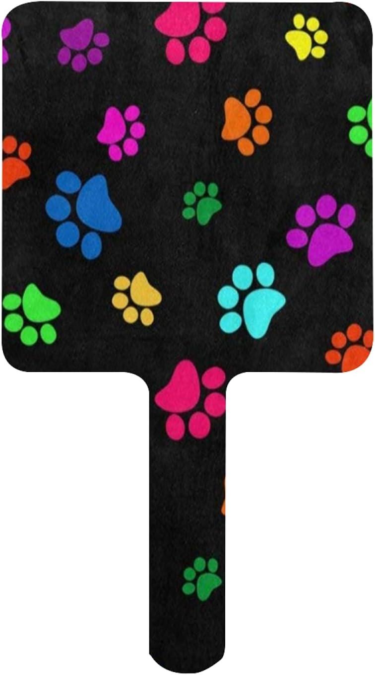 Hand Mirror Rainbow Surprise price Dog Paw Print OFFicial site Black Footprint Trav Animal on