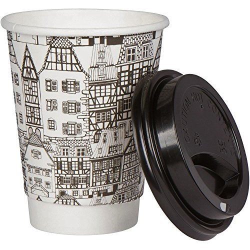 Coffee Paper Cups & Lids Set: 12 Ounce Disposable Mugs: Heavy Duty Decorative Printed Hot Drink Travel Cup & Kitchen Office Supplies: Insulated Double Walled Throw Away with Black Lids: Bulk 50 Count
