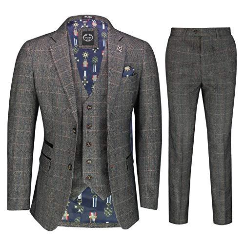 Comprobar Espiga Tweed 3 Traje De Una Pieza Elegante De 1920 Hombres Clásicos Retro A Medida [SUIT-JULES-BROWN-44UK]