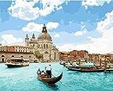 N / A ysyxin Pintura al óleo para Adultos de Lienzo Digital de Bricolaje Dibujo Infantil de Regalo de Venecia con Kit Digital para decoración del hogar-16 x 20 PulgadasSin Marco
