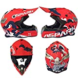 Casco de Motocicleta Niño 5-16 años MJH-02 Red Spark Motocross Motocross Hombre Mujer para Enduro Quad Bike Motores eléctricos Minimoto BMX ATV con Gafas Guantes Máscara 4er Set,XXL